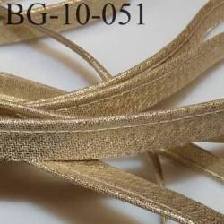 passe poil couleur doré or brillant superbe largeur 10 mm avec lien cordon coton intérieur 2 mm  largeur 10 mm  prix du mètre