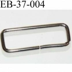 Boucle étrier rectangle en métal chromé  largeur extérieur 3.7 cm largeur intérieur 3.2 cm hauteur 13 mm épaisseur 2 mm