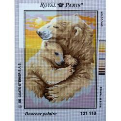 canevas 30X40 marque ROYAL PARIS thème douceur polaire dimension 30 centimètres par 40 centimètres 100 % coton