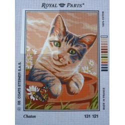 canevas 30X40 marque ROYAL PARIS thème chaton dimension 30 centimètres par 40 centimètres 100 % coton