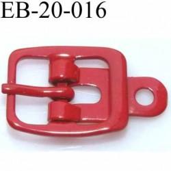 Boucle rectangle métal  couleur rouge largeur 20 mm passage de la languette est de 12.5 mm accroche du rivet diamètre 3 mm