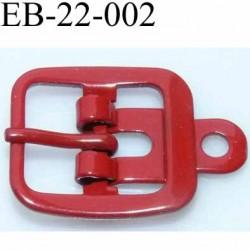 Boucle rectangle métal  couleur rouge largeur 22 mm passage de la languette est de 14.5 mm accroche du rivet diamètre 3 mm