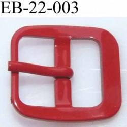 Boucle rectangle métal avec ardillon couleur rouge largeur 22 mm passage de la languette est de 14.5 mm
