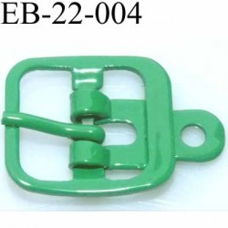Boucle rectangle métal  couleur vert largeur 22 mm passage de la languette est de 14.5 mm accroche du rivet diamètre 3 mm